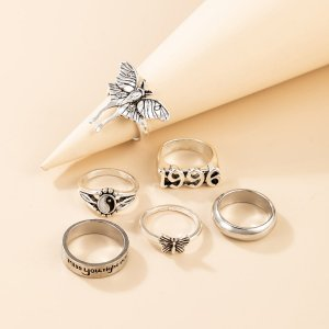 6шт Кольцо с декором инь и ян SHEIN. Цвет: серебряные