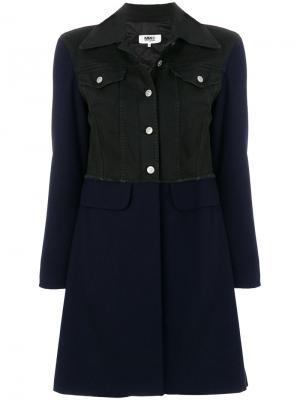 Пальто с джинсовой курткой Mm6 Maison Margiela. Цвет: синий