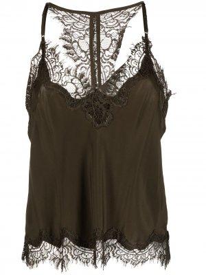 Блузка без рукавов с цветочным кружевом Gold Hawk. Цвет: зеленый