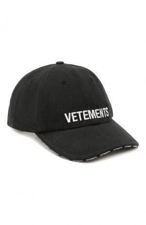 Хлопковая бейсболка Vetements. Цвет: черный