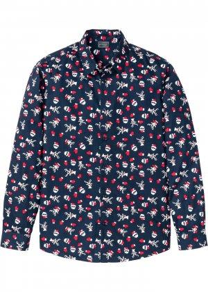 Рубашка с новогодним принтом bonprix. Цвет: синий