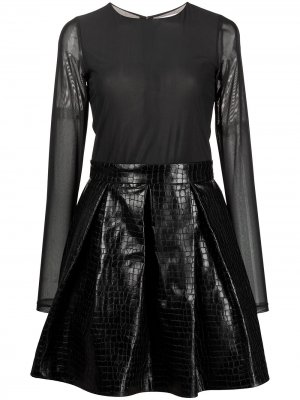 Короткое расклешенное платье Chara Alice+Olivia. Цвет: черный