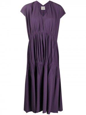 Ярусное платье со складками Alysi. Цвет: фиолетовый