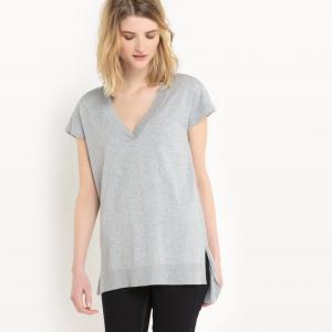 Пуловер с короткими рукавами из хлопка и шелка La Redoute Collections. Цвет: светло-розовый,серый меланж,слоновая кость,черный