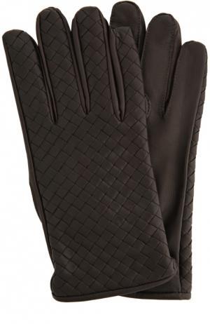 Перчатки Bottega Veneta. Цвет: темно-коричневый