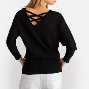 Пуловер-туника с круглым вырезом из тонкого трикотажа ANNE WEYBURN. Цвет: белый,черный