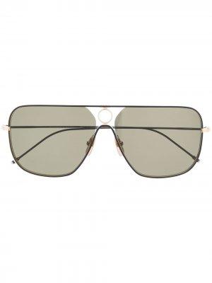 Солнцезащитные очки в прямоугольной оправе Thom Browne Eyewear. Цвет: черный