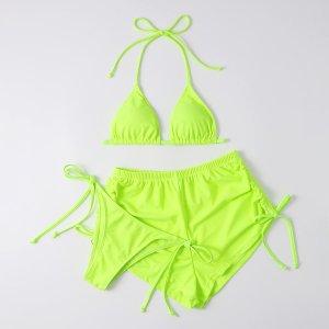 3шт бикини и пляжные шорты цвета неонового лайма SHEIN. Цвет: зеленый лайм