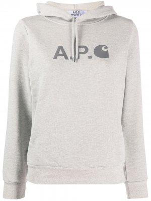 Худи с логотипом A.P.C.. Цвет: серый