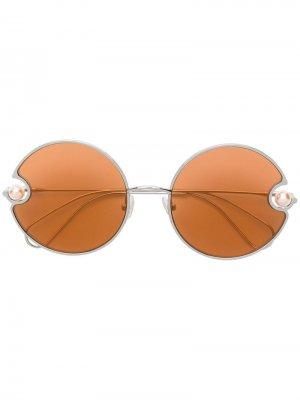 Солнцезащитные очки в круглой оправе Christopher Kane Eyewear. Цвет: оранжевый