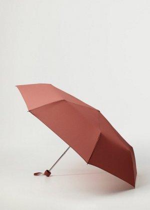 Складной однотонный зонт - Basic Mango. Цвет: бургундия