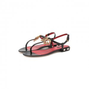 Кожаные сандалии DG Amore Dolce & Gabbana. Цвет: чёрный