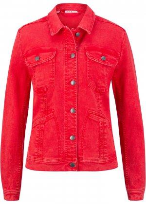 Куртка из эластичного денима bonprix. Цвет: красный