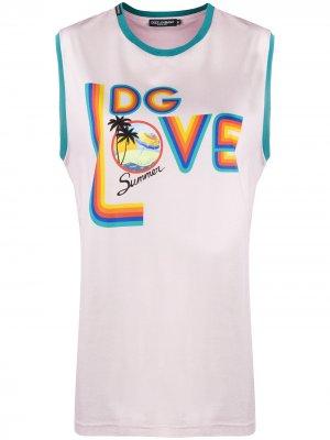 Топ без рукавов с принтом Dolce & Gabbana. Цвет: розовый