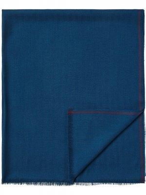 Шарф тонкой вязки с контрастной отделкой Ermenegildo Zegna. Цвет: синий