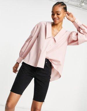 Розовая рубашка с большим воротником и открытой спиной -Розовый цвет ASOS DESIGN