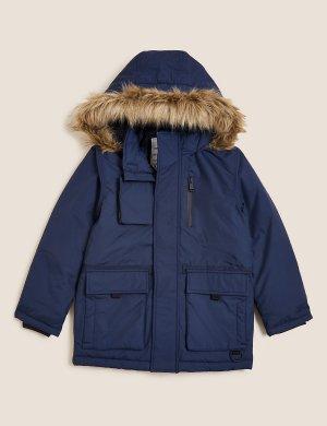 Парка Stormwear™ утепленная с капюшоном Marks & Spencer. Цвет: темно-синий