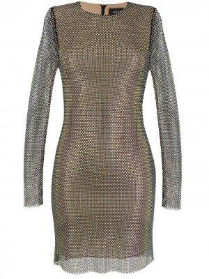 Приталенное платье с заклепками Azzaro. Цвет: серебристый