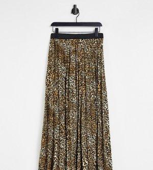 Эксклюзивная плиссированная юбка макси с леопардовым принтом -Разноцветный Queen Bee