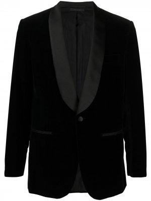 Бархатный однобортный пиджак Brioni. Цвет: черный