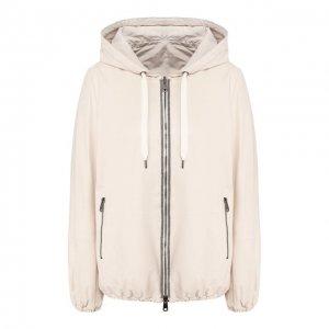 Кожаная куртка Brunello Cucinelli. Цвет: белый