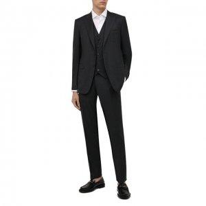 Шерстяной костюм-тройка Canali. Цвет: серый