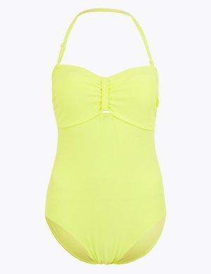 Слитный купальник-бандо M&S Collection. Цвет: цитрус