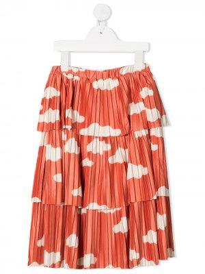 Ярусная юбка с принтом Bobo Choses. Цвет: коричневый