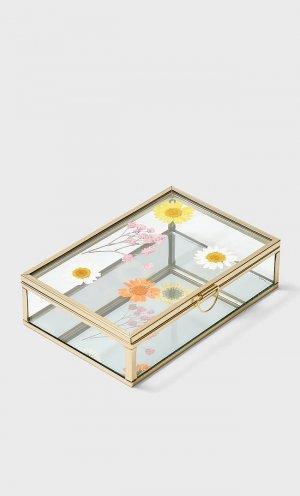 Стеклянная Шкатулка С Цветочным Рисунком Пастельно-Желтый 103 Stradivarius. Цвет: пастельно-желтый