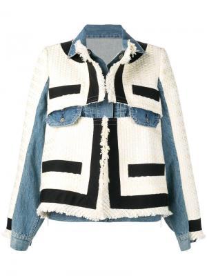 Джинсовая куртка с контрастными вставками Sacai. Цвет: синий