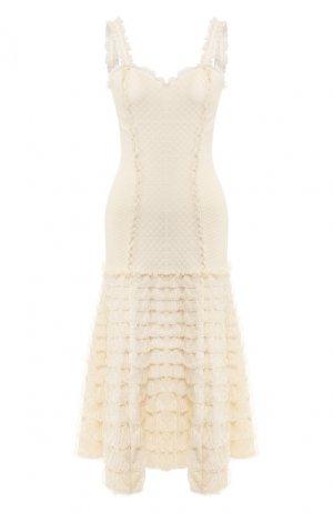 Платье-миди Alexander McQueen. Цвет: бежевый
