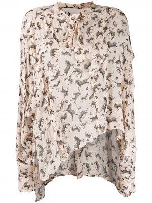 Блузка с анималистичным принтом 8pm. Цвет: нейтральные цвета