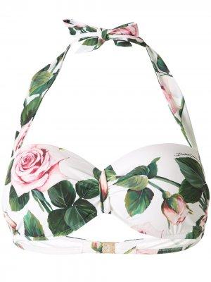 Лиф бикини с принтом Tropical Rose Dolce & Gabbana. Цвет: разноцветный