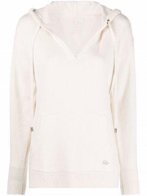 Logo-plaque knitted hoodie Michael Kors. Цвет: нейтральные цвета