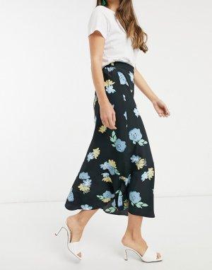 Юбка миди с крупным цветочным принтом -Мульти Glamorous