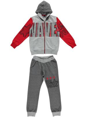 Спортивный костюм IDO. Цвет: серый, красный