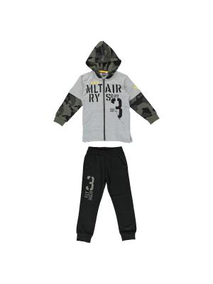 Спортивный костюм (толстовка, брюки) IDO. Цвет: серый