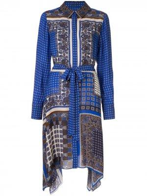 Платье-рубашка Roxanne с принтом пейсли Elie Tahari. Цвет: синий