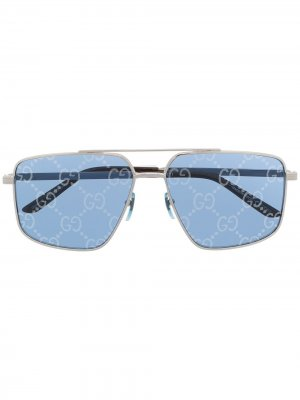 Солнцезащитные очки в квадратной оправе с логотипом GG Gucci Eyewear. Цвет: серебристый