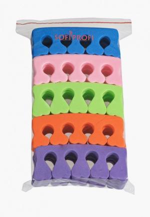 Набор для ухода за ногтями Sofiprofi Разделитель пальцев 10 пар микс. Цвет: разноцветный