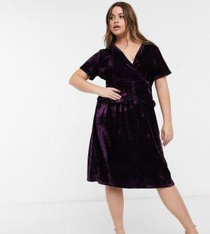 Приталенное бархатное платье черного цвета Plus-Черный Elvi