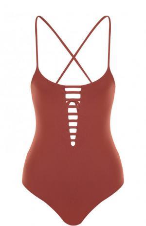 Слитный купальник с открытой спиной и шнуровкой Melissa Odabash. Цвет: коричневый