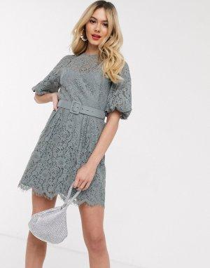Серое кружевное платье мини с поясом -Серый Little Mistress