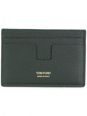 Визитница с Т-образным карманом Tom Ford. Цвет: зелёный