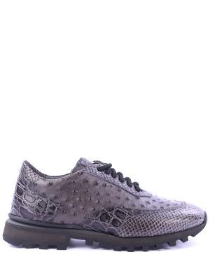Кожаные кроссовки Forrest Alberto Guardiani. Цвет: серый