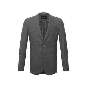 Шерстяной пиджак BOSS. Цвет: серый