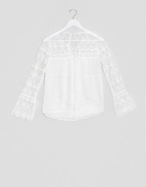 Белая блузка с длинными рукавами Hollister-Белый Abercrombie & Fitch
