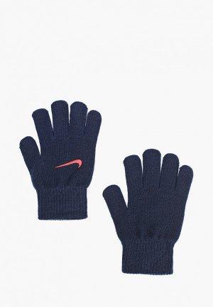 Перчатки Nike KIDS KNITTED GLOVES. Цвет: синий