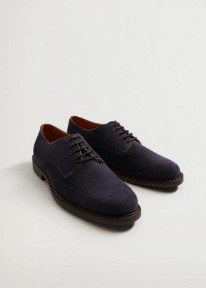 Туфли блюхеры из спилка - Leo Mango. Цвет: синий