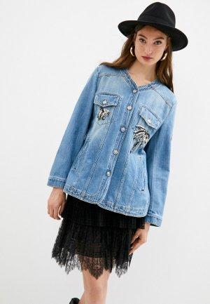 Куртка джинсовая Ermanno Scervino. Цвет: голубой